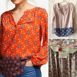 Boden Maya Blue Pink Floral Popover Tunic Top 4